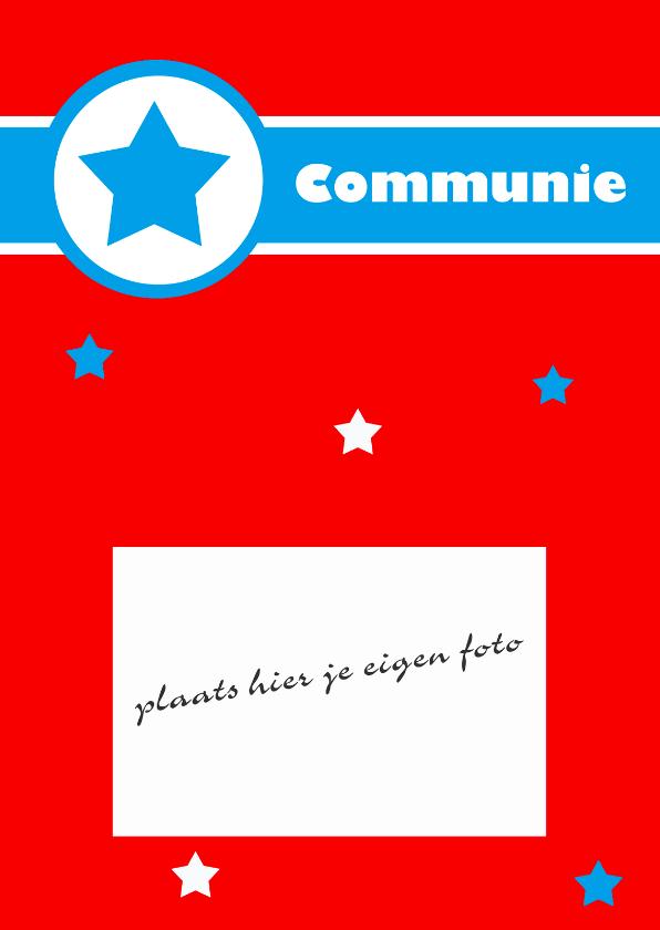 Communiekaart met blauwe ster 1