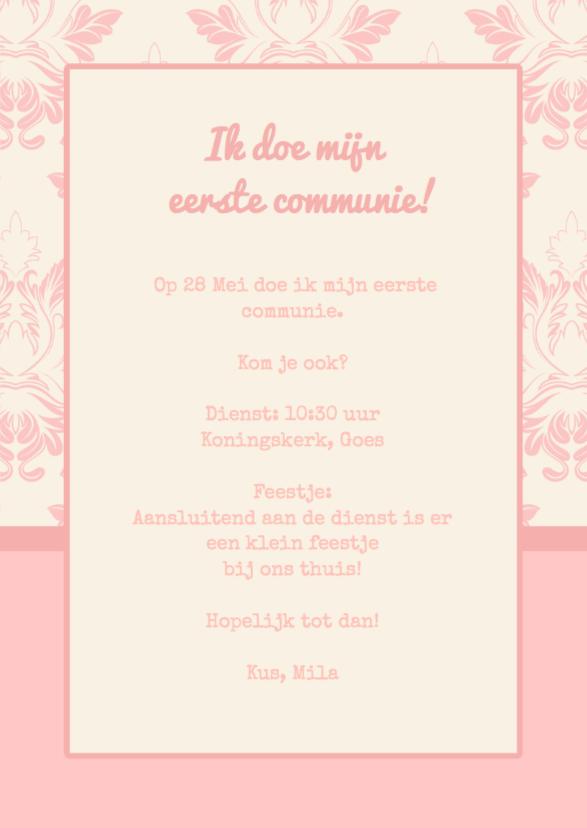 Communiekaart roze Label Stempel 3