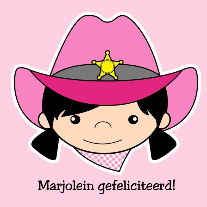 Cowgirl gefeliciteerd kaartje 1