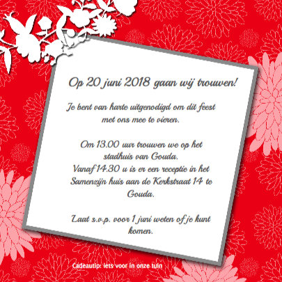 Dahlia's roze rood trouwkaart 3