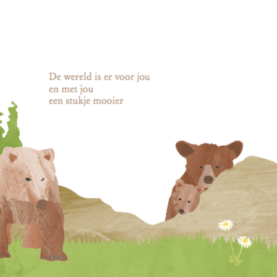 Dieren geboortekaartje beren 2