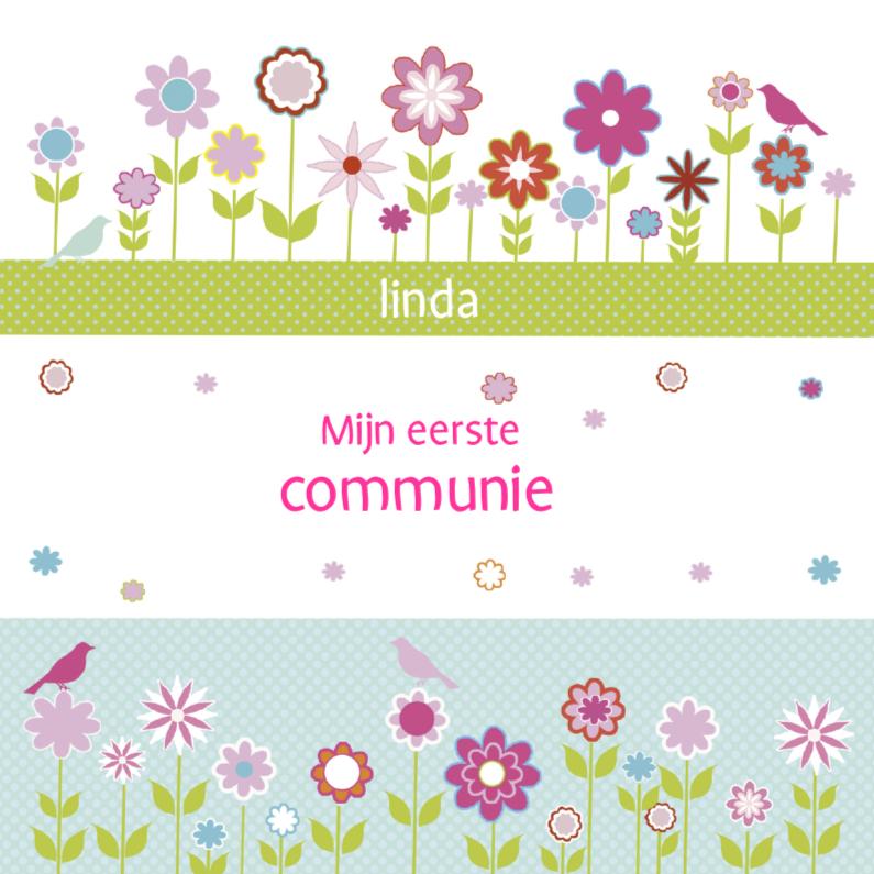 eerste communie met bloemetjes en vogels 1