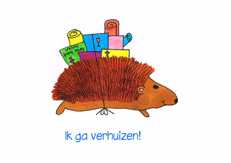 Egel gaat verhuizen kleur 2 verhuiskaarten kaartje2go for Ik ga verhuizen