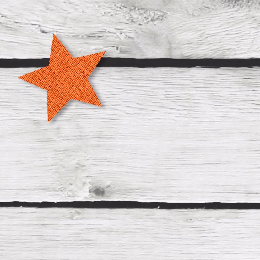 eigen tekst ster op hout print 2