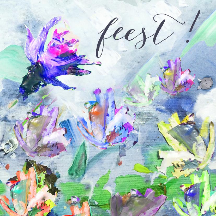 Feest! Schilderij print bloemen 1