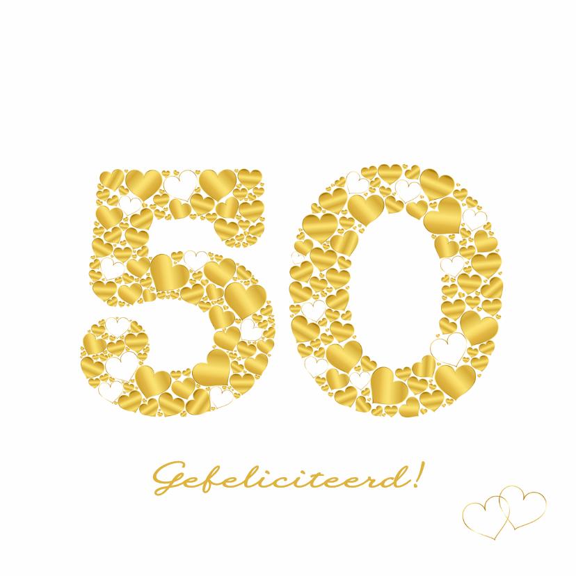 Felicitatie 50 hartjes sierlijk 1