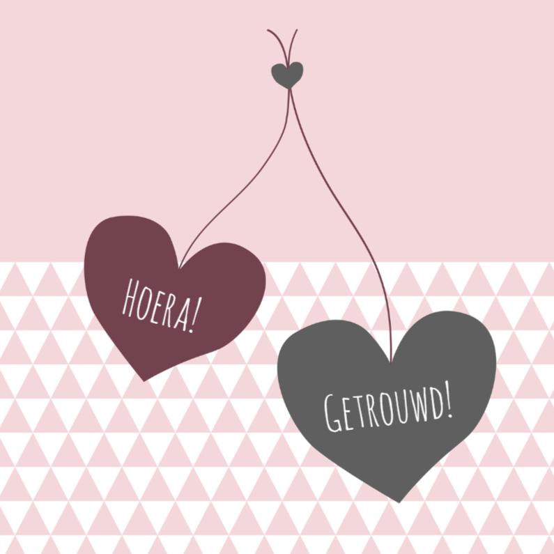 Felicitatie driehoek harten 1