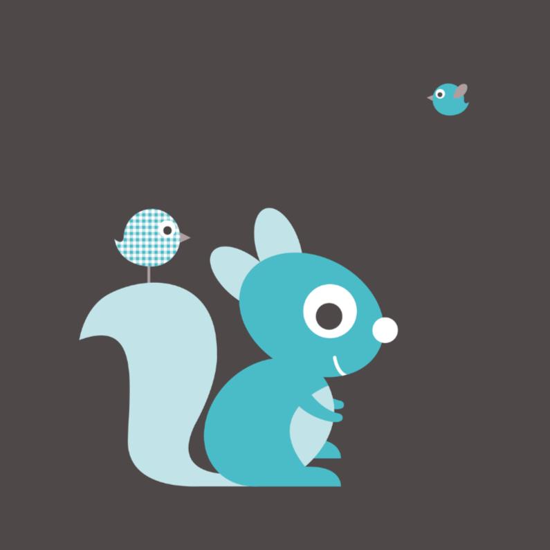 Felicitatie eekhoorn blauw 1
