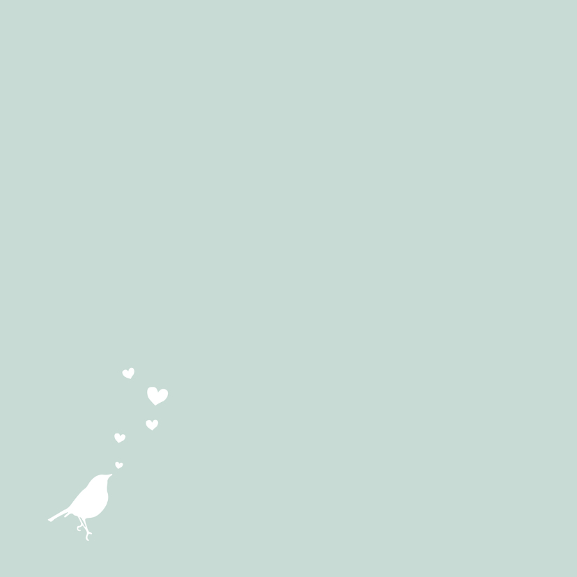 Felicitatie, groen, vogel, hart 2