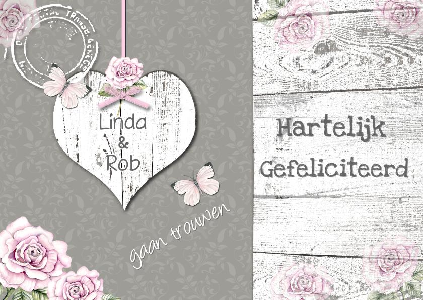 felicitatie  huwelijk hart en vlinders 1