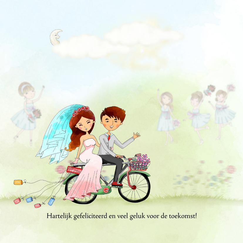 Felicitatie huwelijk met fiets 1