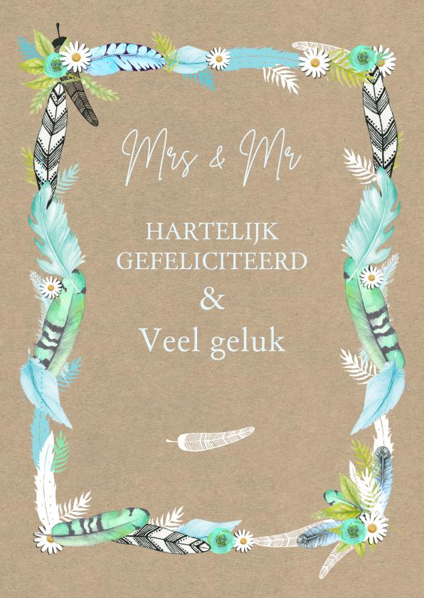 Felicitatie huwelijk veren felicitatiekaarten kaartje go