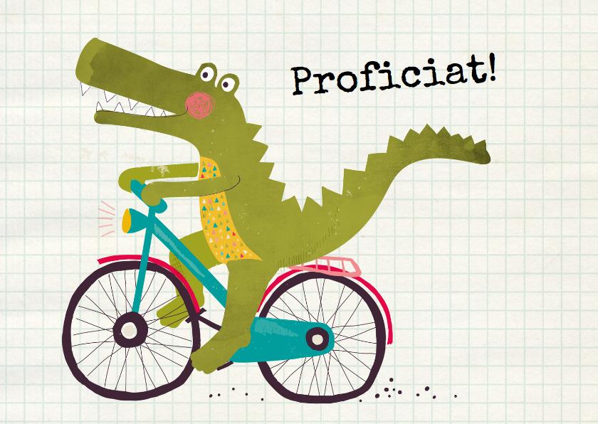 Felicitatie krokodil op fiets 1