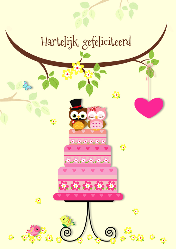 Felicitatie met bruidstaart 1