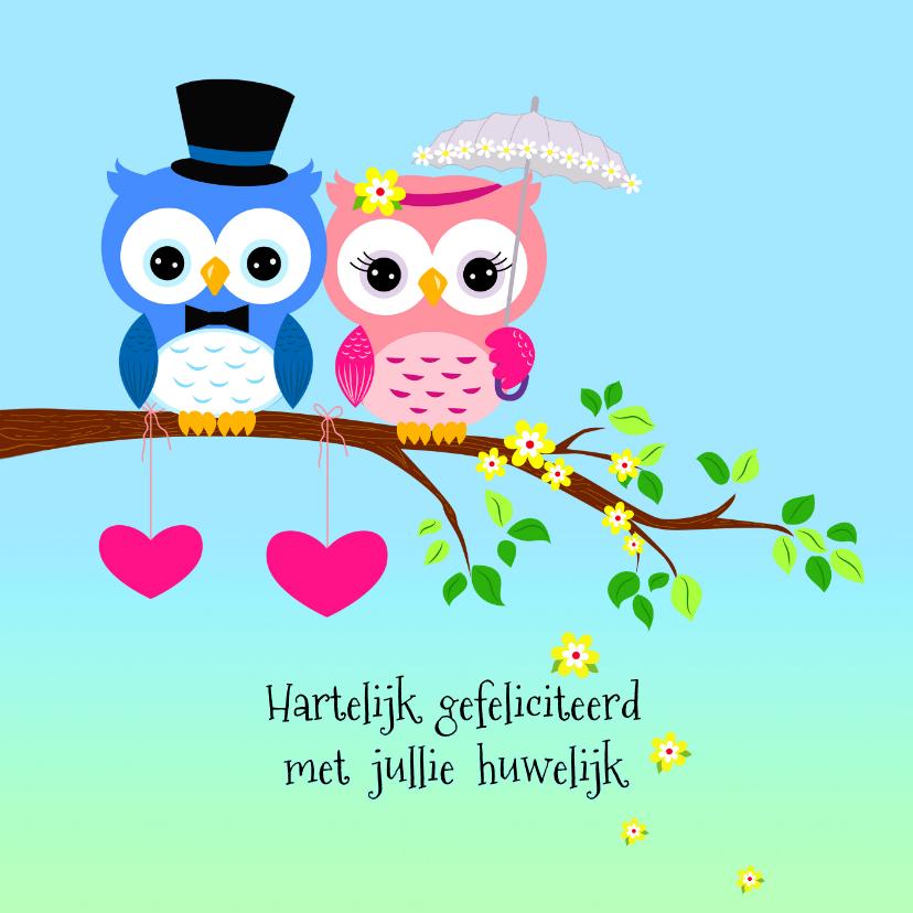 Felicitatie met uilen echtpaar felicitatiekaarten