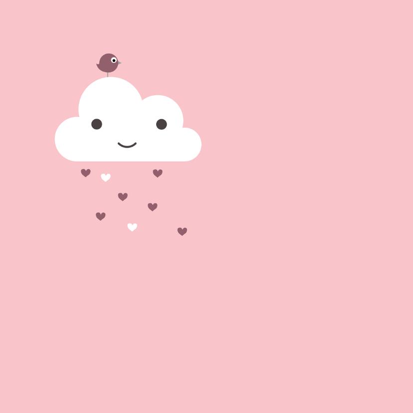 Felicitatie Wolk met roze harten 2