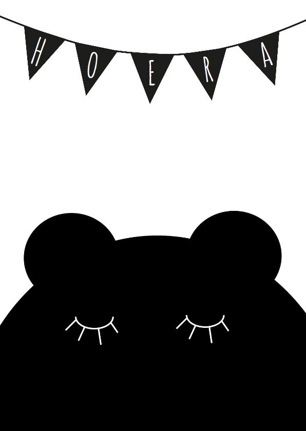 Felicitatiekaart beer zwart wit 1