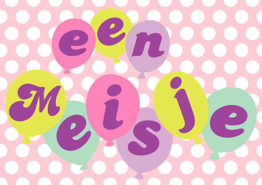 Felicitatiekaart Happy Balloons Meisje 1