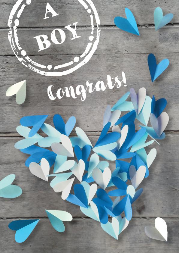 Felicitatiekaart  hart zoon 1