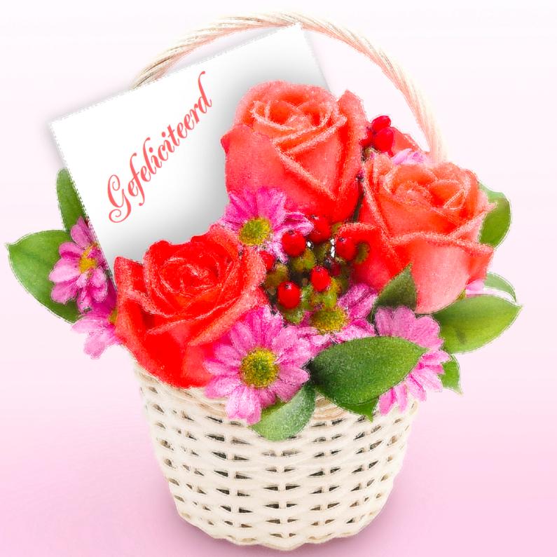 Felicitatiekaart met geschilderde rozen 1