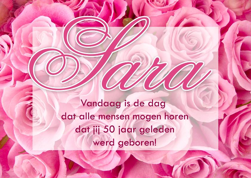 Felicitatiekaart Sara met rozen 1