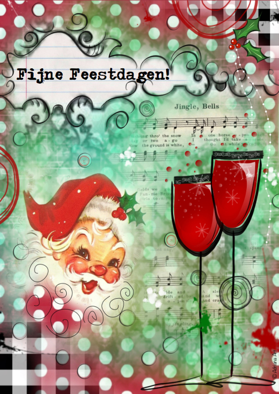 Fijne feestdagen mixed media 1