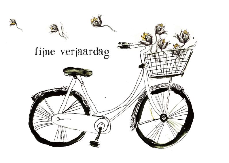 Fijne verjaardag fiets en bloem 1