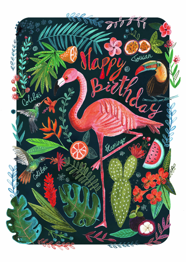 Flamingo trendy verjaardagskaart 1