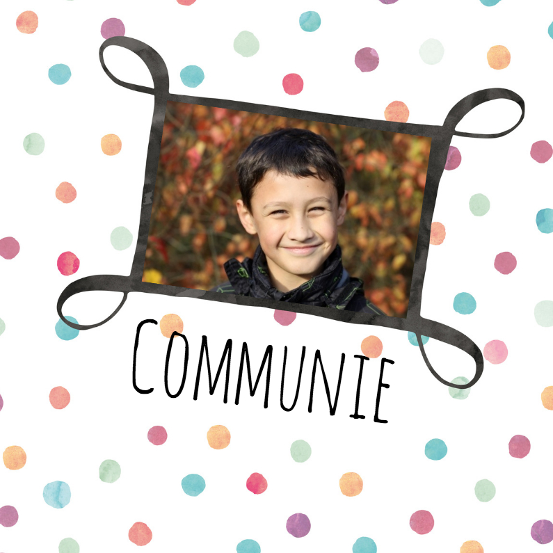 Fotokaart communie met stippen 1