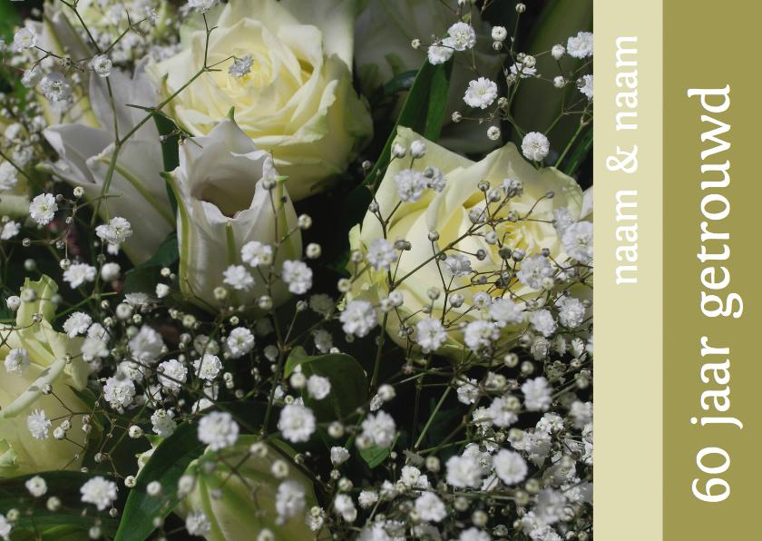 Fotokaart witte rozen 60 jaar  1