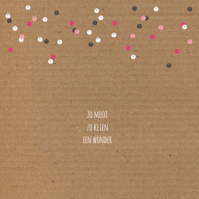 Geboorte- Karton, confetti, roze 2