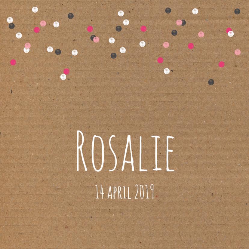 Geboorte- Karton, confetti, roze 1