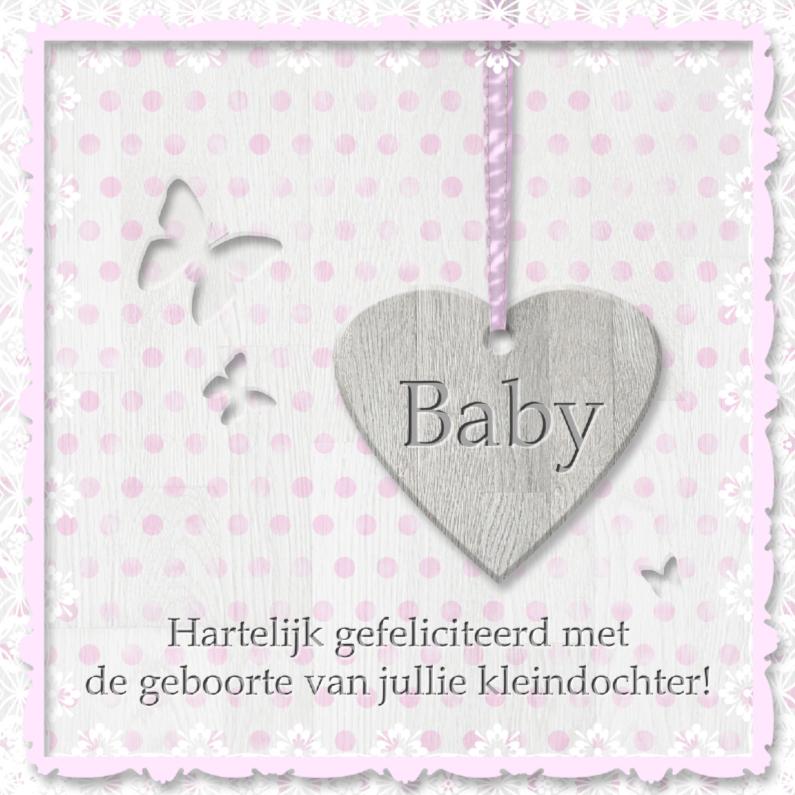 Geboorte kleindochter - houten hart 1