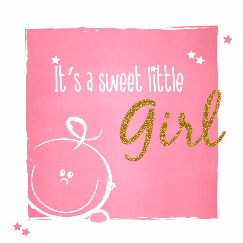 Geboorte Lief roze baby kaartje 1