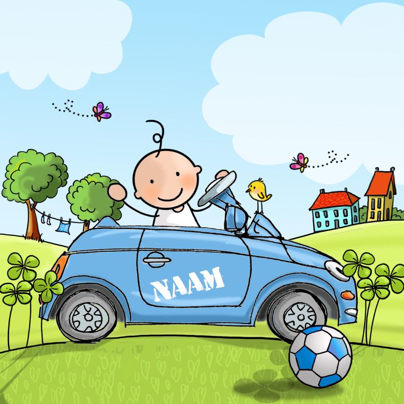 Geboortekaart auto blauw 1