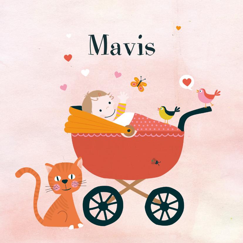 Geboortekaart babymeisje wagen 1