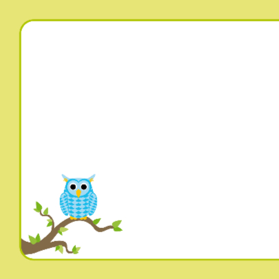 Geboortekaart blauw uiltje op tak 2