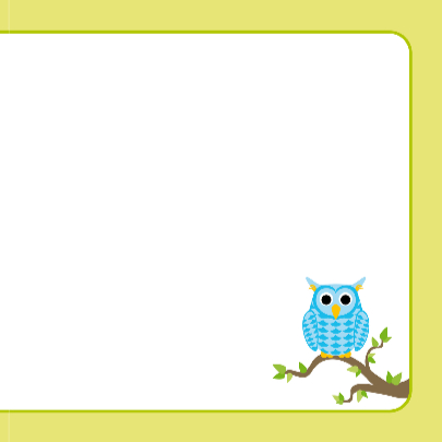 Geboortekaart blauw uiltje op tak 3