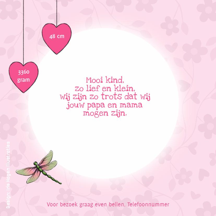 Geboortekaart bloem hartje - IH  2