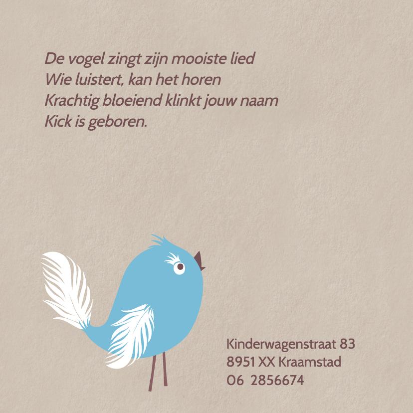 Geboortekaart Blue Bird 2