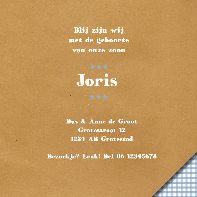 Geboortekaart - Brown Paper Boy  3