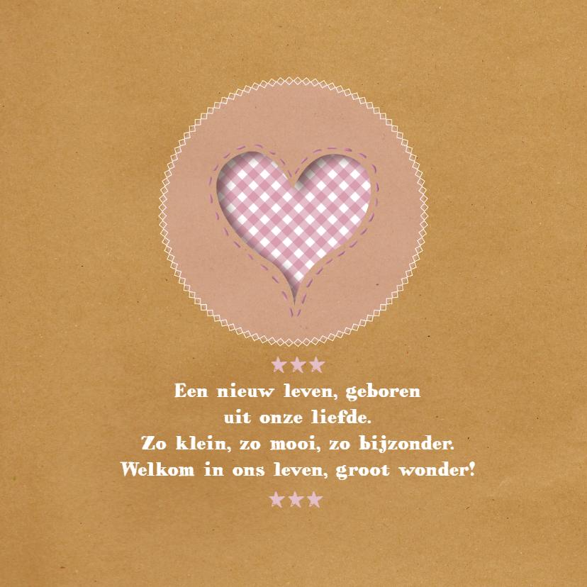 Geboortekaart - Brown Paper Roze 2
