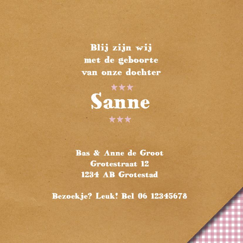 Geboortekaart - Brown Paper Roze 3