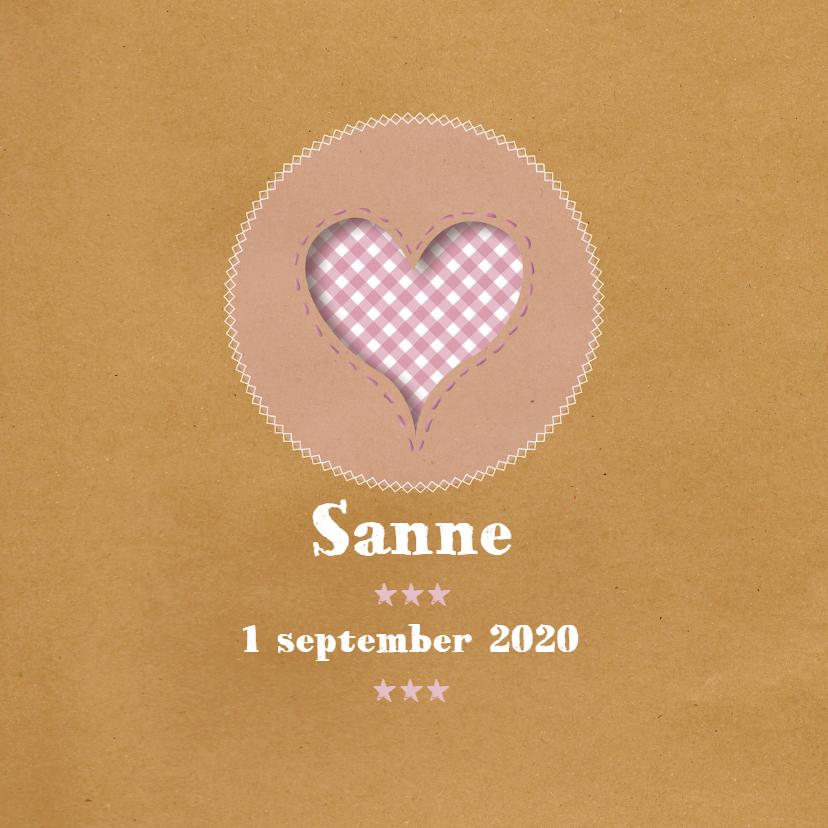 Geboortekaart - Brown Paper Roze 1