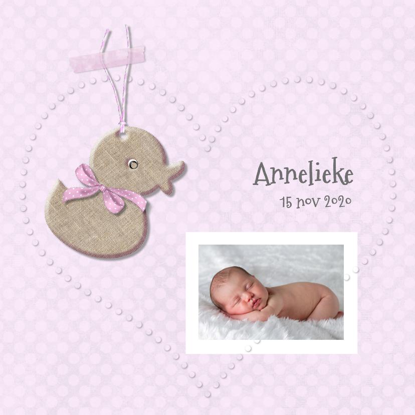 Geboortekaart eendje meisje 1
