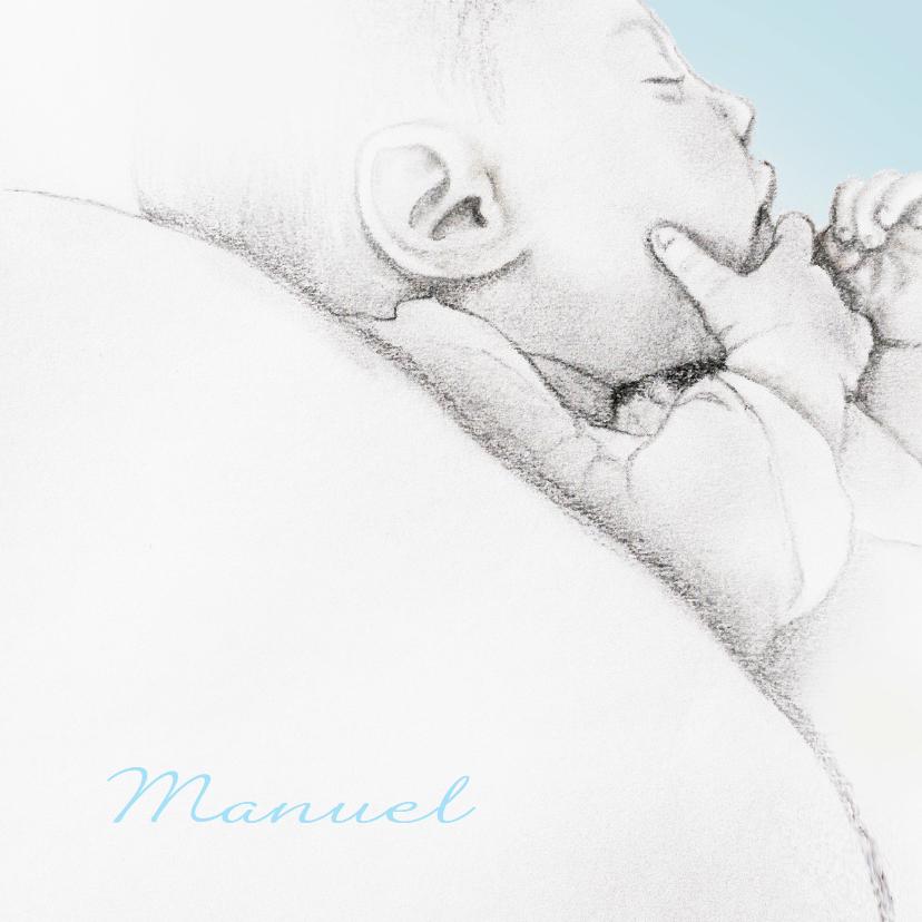 Geboortekaart getekend baby'tje 1
