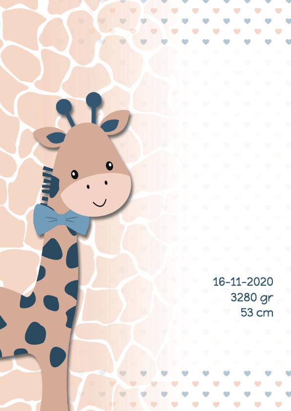 Geboortekaart giraf lever-blauw 2