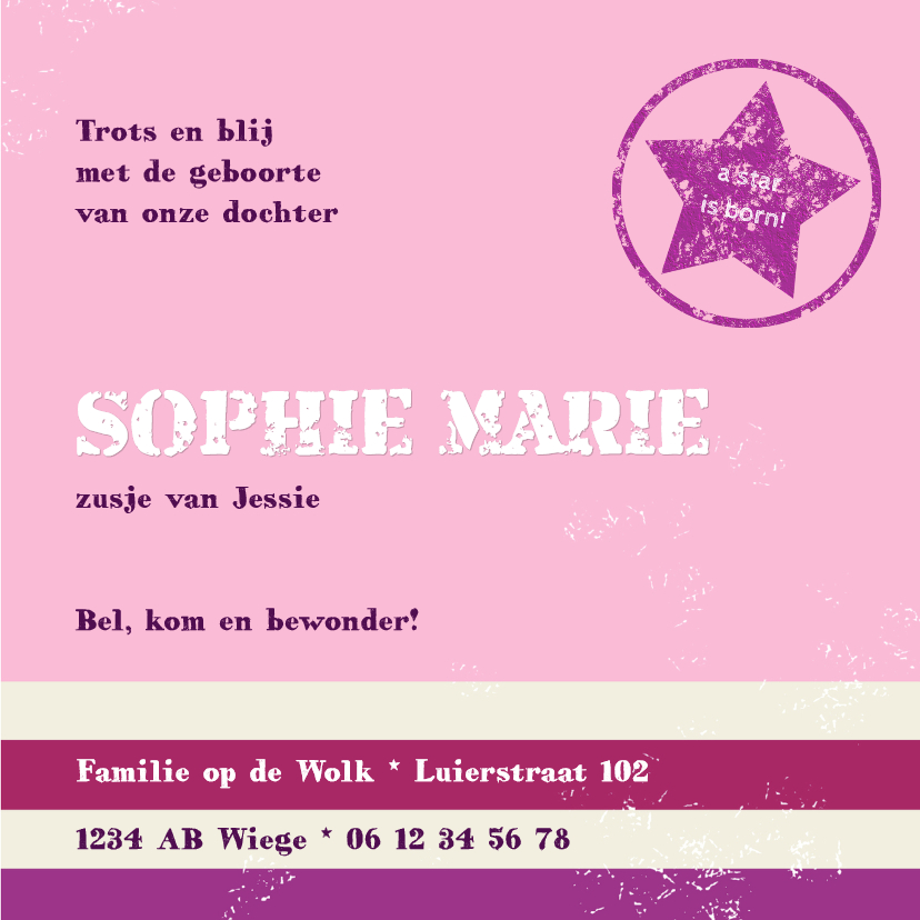 Geboortekaart Girl Star 3