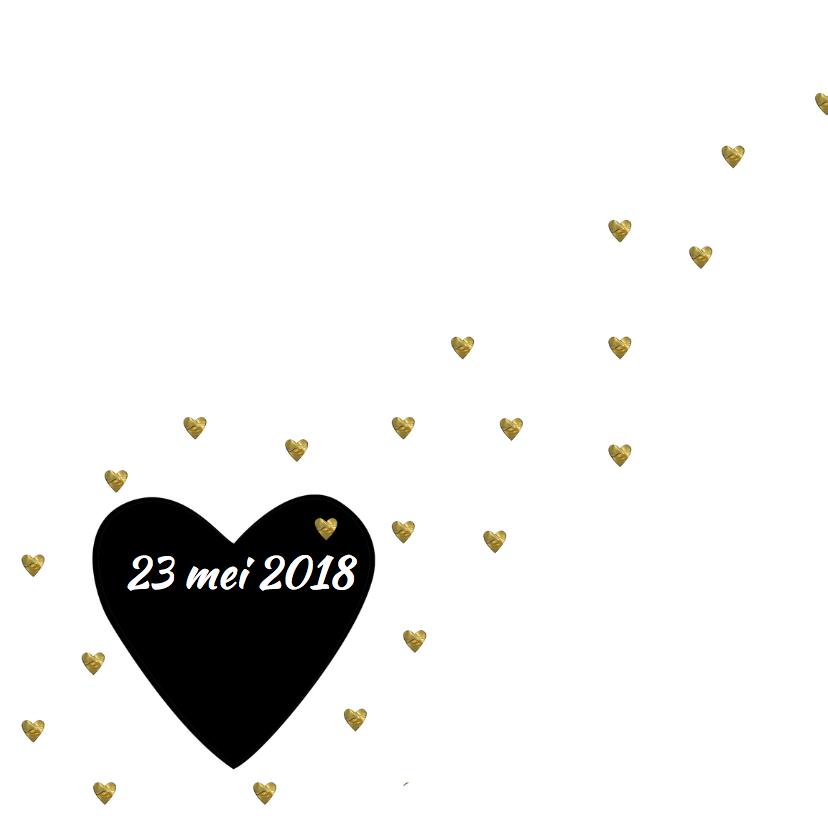 Geboortekaart gouden hartjes 2