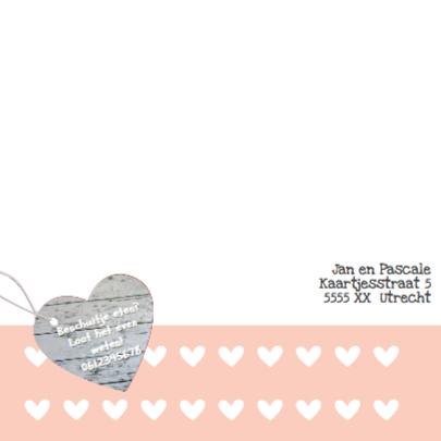 Geboortekaart hout en hip hartje 2